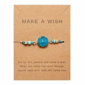 Charm Make A Wish Natural Stone Bracelet Friendship Family Card Jewellery Bangle