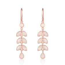 Rose Quartz Gemstone Leaf Design Earrings 925 Silver Rose Gold Plated Jewelry