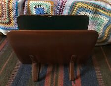 Vintage Brown Leather Magazine Rack Newspaper Laptop Holder Waiting Room Office