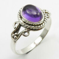 Amethyst Tibetan Ring Size 8 Solid Sterling Silver Gift for Girlfriend Jewelry