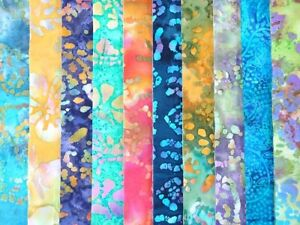 10 JELLY ROLL STRIPS 100% COTTON PATCHWORK FABRIC ~ BATIK 1