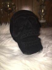 Gothic Black Velvet Skull Decoration Goth Home Decor Accent Christmas Gift