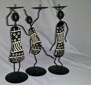African Candle Stick Holders Wood Metal Set of 3