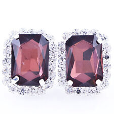 Vintage White Gold Filled Ruby Big Square Crystal Clean Crystal Stud Earrings