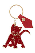 New Vivienne Westwood Mirrored Cat Red Gold Key Ring Chain Bag Charm
