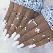 13pcs Gold Opal Midi Finger Ring Set Star Moon Vintage Boho Knuckle Ring Jewelry