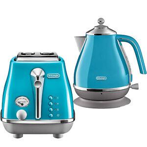 Delonghi Icona Toaster 2 Slice & Cordless 1.7L Kettle Jug Electric Set Azure Kit