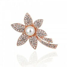 GORGEOUS 18K ROSE GOLD PLATED AND GENUINE CUBIC ZIRCONIA & PEARL FLOWER BROOCH