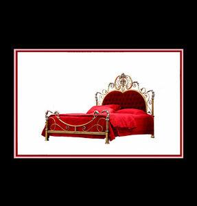 Luxus Design Antik-Betten - Dynasty Farbe Antikgold + Silber - Metallbett