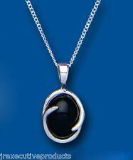 Onix Colgante Natural Ónice Negro Collar Ovalado Plata Maciza De Ley 45.7cm