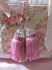 Two French Provincial Shabby Chic Pink Cristallo Beaded Door Decor Tassel