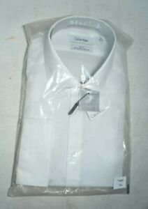 Calvin Klein Men's Dress Shirt White Solid Slim Fit Performance Cool And Dry