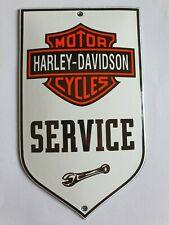 HARLEY DAVIDSON SERVICE. PORCELAIN EMAILLE ENAMEL SHIELD, SIGN, PLATE. RETRO