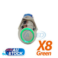8X 12V 5A Waterproof LED Green Light Push Button Switch RV Autos Boat parts