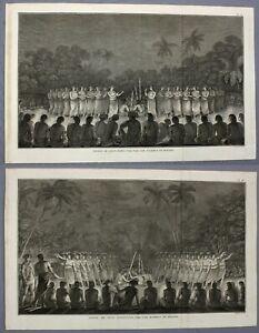 1785   pair engravings men and women dancing TONGA Ha'apai   Cook's third voyage