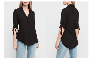 Express Tie Sleeve Button-Up Shirt  Color: Black New!!!