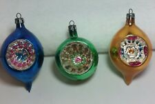 3 - Vintage Poland Mercury Glass Tear Drop/Indent Christmas Ornaments