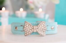 New! Luxury Tiffany Blue Dog Collar Rhinestone Pet Collar Dog Cat Enchanted Pets
