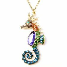 Fun Colorful Purple Gold Seahorse Crystal Pearl Enamel Charm Long Chain Necklace