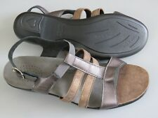 SAS Bronze/Beige Patent Tripad Comfort Ladies 9.5 Narrow Wedge Strappy Excellent