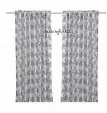 IKEA Alvine Bukett Black White Floral Hidden Tab Curtains 2 Panels NEW SealedPkg