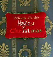 'Friends are the Magic of Christmas' Accent Pillow Red Velvet Rectangle {81}