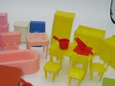 Dollhouse Furniture Lot of 24 Mixed Lot Vintage Furniture plus Accessories 1960s