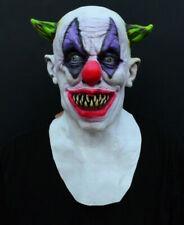 Creepy Evil Scary Halloween Clown Mask Rubber Latex GREEN HORNED CLOWN US