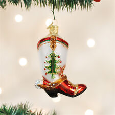 Christmas Cowboy Boot Glass Ornament