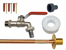 Lever Outside Tap Kit With Through Wall Pipe / Flange + Garden Hose Pipe Fitting