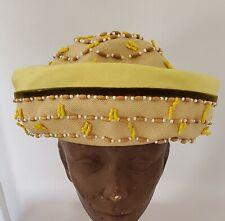 Vintage Miss Carnegie Beaded Strawlike Summer Hat