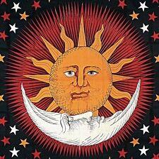 Handmade Cotton Celestial Sun Moon Star Tapestry Coverlet Full Orange Red 88x104