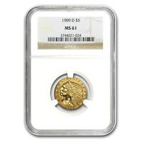 $5 Indian Gold Half Eagle MS-61 NGC - SKU #23207