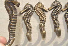 6 small SEAHORSE solid brass polished HOOKS COAT wall mounted beach old 8 cm B