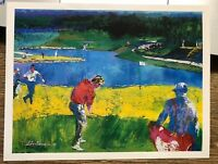 Leroy Neiman Postcard Golf Course Mystic Rock 1996 Art Card