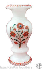 "12"" Marble Flower Vase Carnelian Marquetry Floral Art Inlay Work Home Deco H2011"