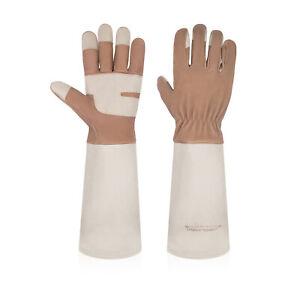 Gardening Gloves Women Men Leather Long Sleeve Rose Pruning Thornproof Gauntlet