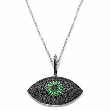 "Round Black Spinel & Peridot Evil Eye Pendant W/18"" Chain 925 Sterling Silver"