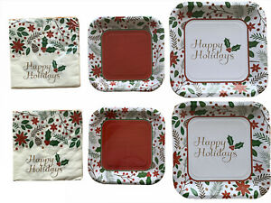 Happy Holidays Holly Berry Paper Plates And Napkin Set Serves 16
