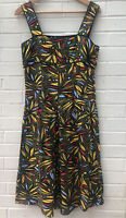 LINEA size 10 Summer Linen Dress Tropical Pattern Strappy Lined Holiday