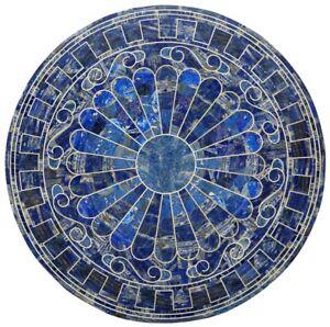 "54"" x 54"" Marble Table Top Inlay Work Lapis Lazuli Semi Precious Stones handmade"