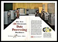 1953 IBM Electronic Data Processing Machines Computer Vintage Photo AD
