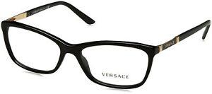 Versace Women VE3186 Black Eyeglasses Frames GB1 54mm