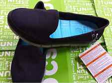 CROCS STRETCH SOLE SKIMMER FLAT BUSY DAY LOAFER SLIP ON SHOE~Black Blue~W 7~NWT