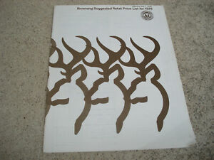 1978 BROWNING Guns Firearms Accessories Suggested Retail Price List Catalog