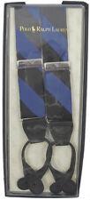 NEW Polo Ralph Lauren Silk Suspenders!  Blue & Black Repp Stripe   *Made in USA*