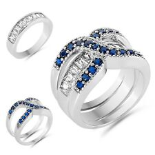 Set Clear Blue Cubic Zirconia Women Fashion 2 in 1 Double Ring Wedding Jewellery