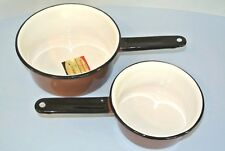 2 Vtg. Cinsa Normandy Brown & White Porcelainware Enamelware Cookware Pots ~ NOS