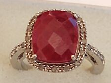 Sterling Silver 925 Ring With deep red stone &  CZ's  Size 5 3/4 ((280))