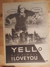Yello I LOVE YOU 1983 Edición anuncio completo Páginas 39 x 28cm Póster